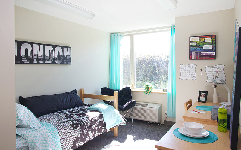 First-year student residence room on UBC's Okanagan campus.
