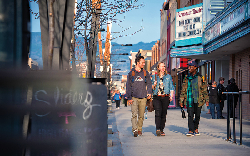 UBC students walking in downtown Kelowna