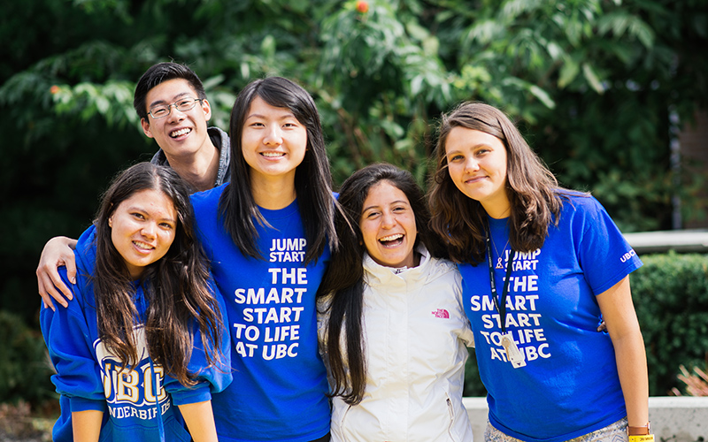 Group of students at UBC's Jump Start international orientation