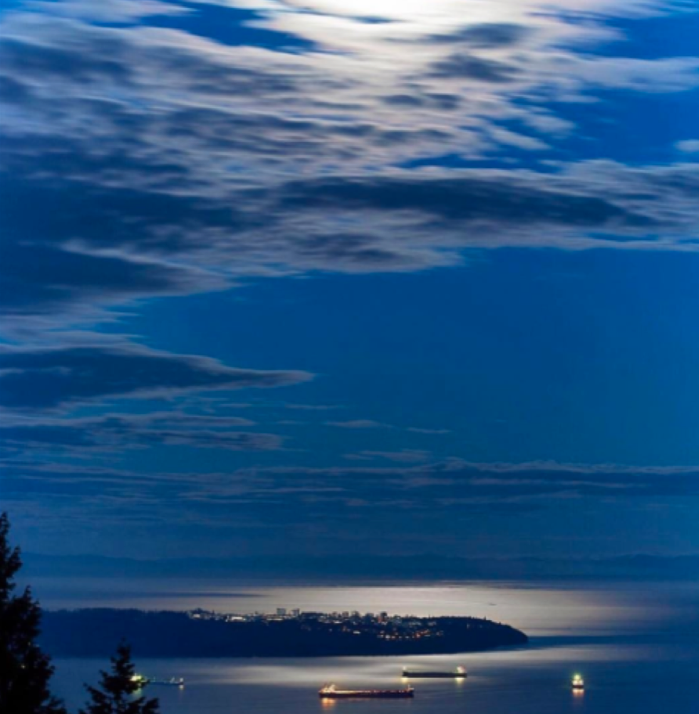 The Point Grey peninsula, home to our Vancouver Campus under the moonlight. Photo by @thihaphotography #UBC #iamubc