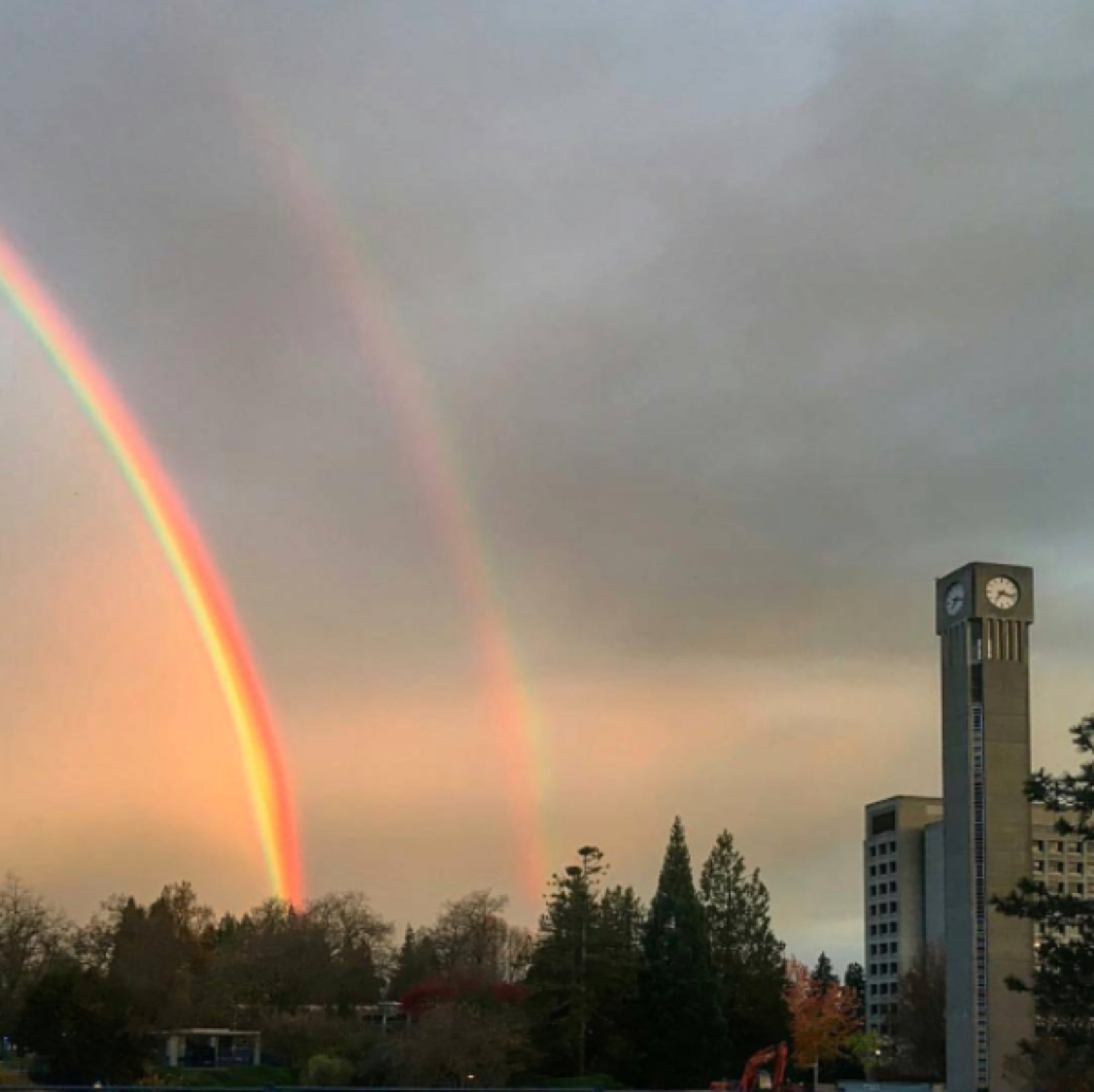 It's a full on double rainbow over campus! ???? Photo by @ubclibrary via @ubcsauderschool
