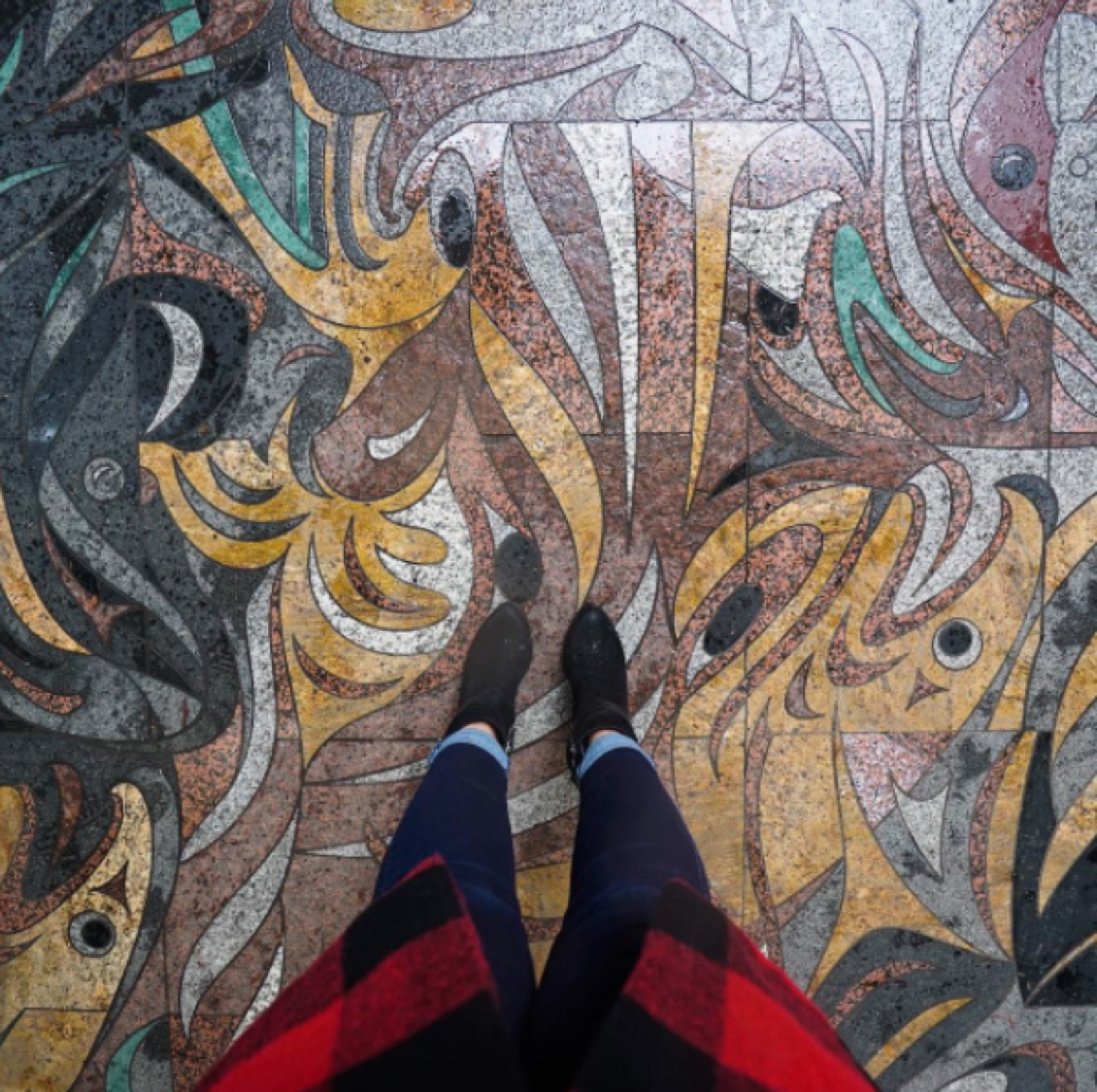 This picture was taken outside of MOA. The print I stand on was done by Susan Point, a Musqueam artist. Although many people walk over it daily, to enter the museum, I have always been captured by this work. To me, it represents that our teachings are still so deeply embedded in this earth. #UBC #youbctakeover