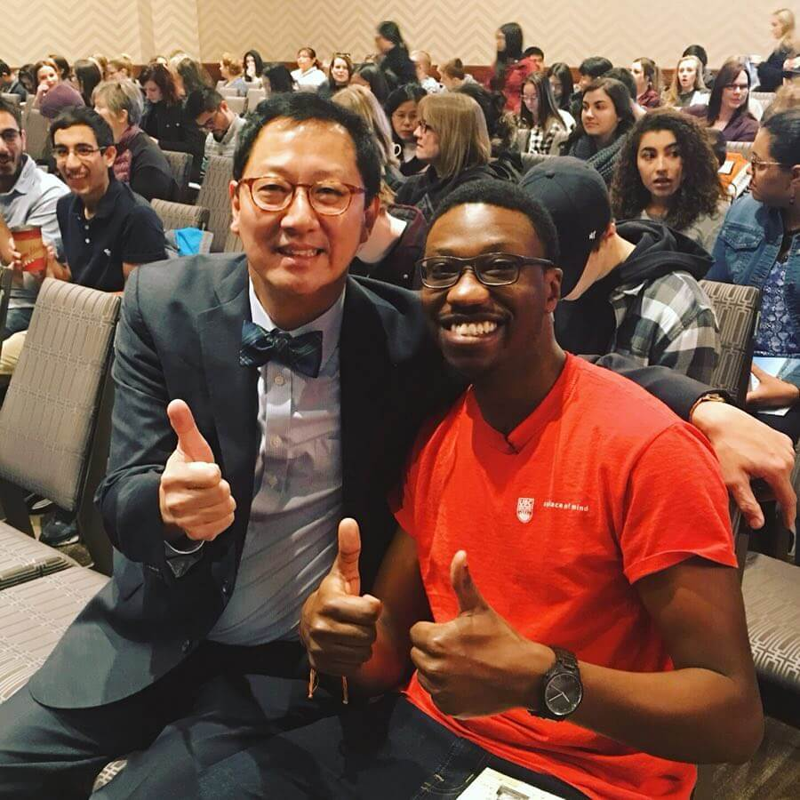 @youbcpic Prof. Santa Ono and current UBC Okanagan student Joses Akampurira getting ready to chat with #yyc at today's Your Degree event. It's the dream team!