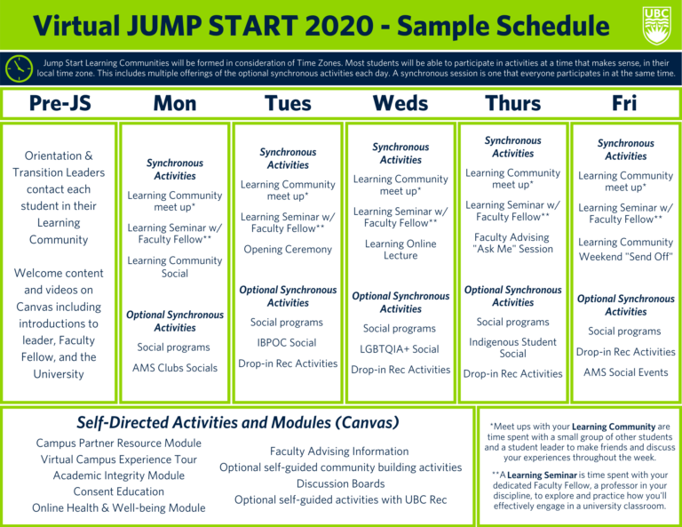 Virtual Jump Start - Sample Schedule